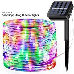 Solar LED Strip Lights,10M 100LED Solar-Powered String Lights,Outdoor IP65 Waterproof 8 Modes Multi-Color 10M 100LED