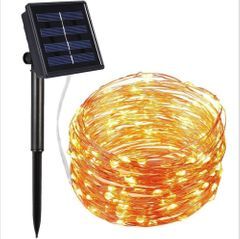 Solar LED Strip Lights,10M 100LED Solar-Powered String Lights,Outdoor IP65 Waterproof 8 Modes warm white 10M 100LED