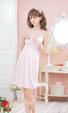 Women's Pajamas Satin Lingerie Nightgown Spaghetti Strap Sleepwear Slik Chemise Short Nightwear pink one size(fit for 35-62kg)