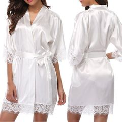 Women's Lace Trim Kimono Robe Nightwear Nightgown Sleepwear Satin Short Robe white M(Fit S-M)