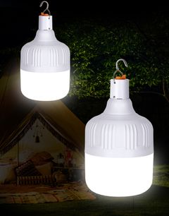 20W/40W/50W/Waterproof Rechargeable LED Night Light Bulb Emergency Outdoor BBQ Hanging Lights white 50W