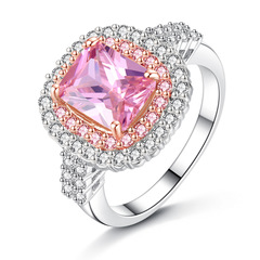2019 Pink Yellow Crystal Rings For Women Silver Ring Wedding Rings Big Stones Bridal Jewelry pink 6