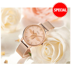 Woman watches Trend Female Clock NEW Fashion Ms. Wristwatch Quartz bee embossed Luxury  Watches gold one size