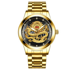 Golden Luxury Men's Watch Ruby Dragon Dial Stainless Steel Wristwatch Birthday Gift For Man gold-black one size