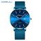 Luxury Fashion Men Bracelet Watch Men Casual Waterproof Quartz  Watches Gift  Clock blue silver one size