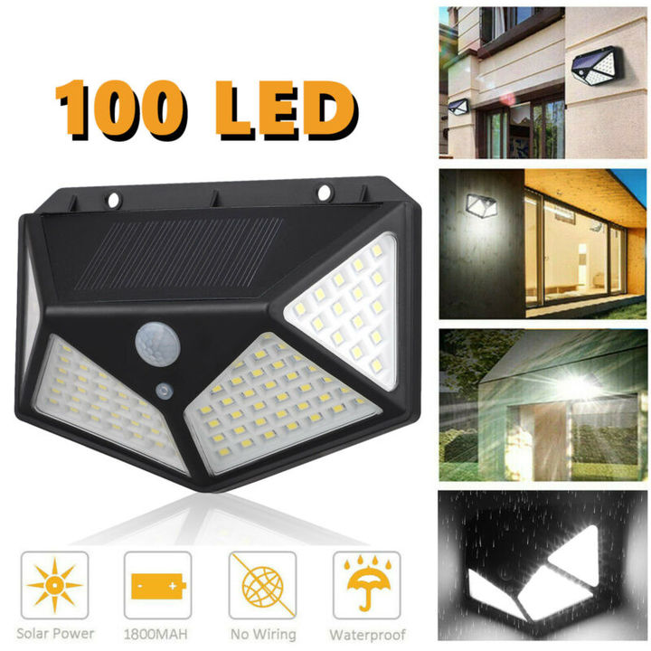 100 LED Outdoor Solar Powered Wall Lamp Motion Sensor Waterproof Security Light 100LED 1PC 10W