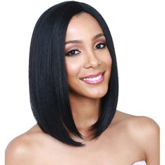 African lady wig with bangs pear head short straight hair wig black as picture