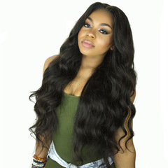 Front Human Hair Wigs Brazilian Curly Human Hair Wig For Black Women Full End Density Lace Wig black 75cm
