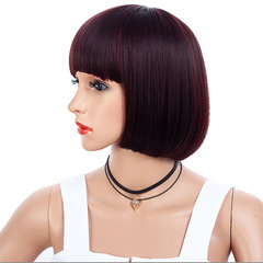 Factory direct fashion Straight  wigs air bangs big scalp bobo wave head hair face natural wigs maroon 28cm