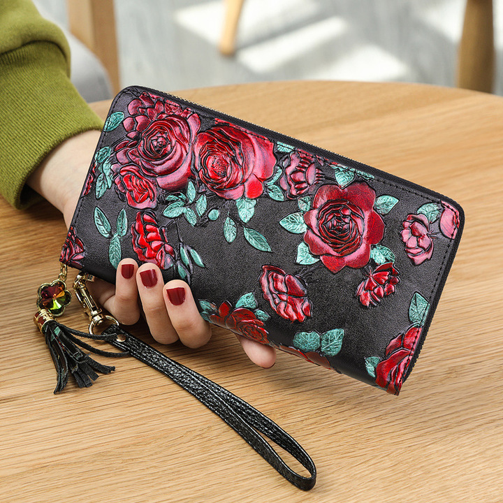 Banyanu dermis  Long zipper lady Purse  Chinese National Style Stereo Printed Wallet Coloured Rose 20*12.5*2cm