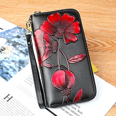 Leather Lady's Wallet  New multi-functional long embossed lady handbag in 2019 907 Red 19.8*10.8*4.5cm