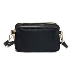Fashion  shoulder bag   slung bag multilayer practical leisure bag change mobile phone bag black 25*5*17cm