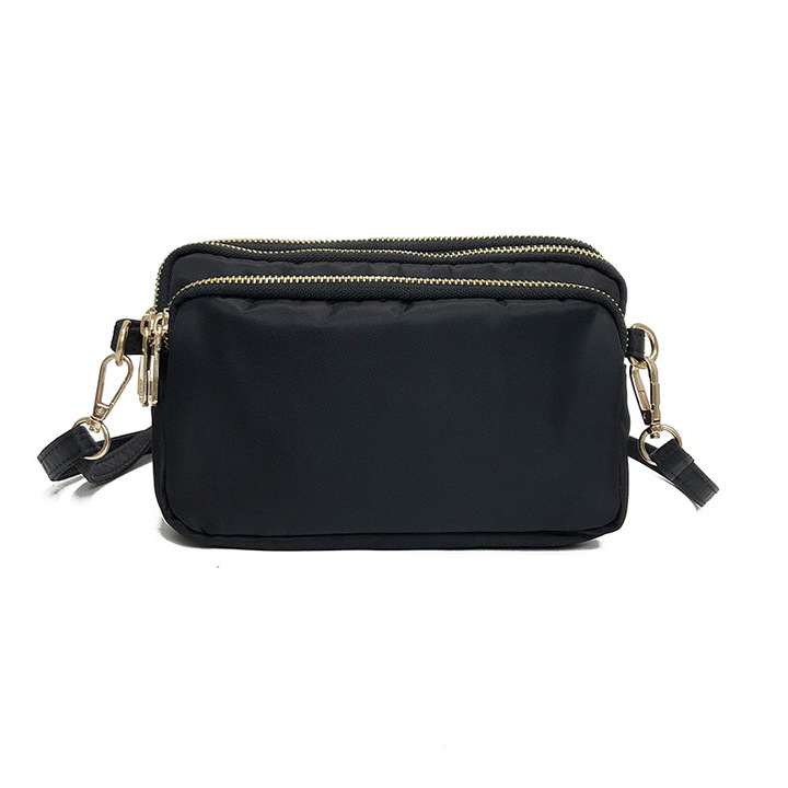 Fashion  shoulder bag   slung bag multilayer practical leisure bag change mobile phone bag black 25*5*17cm