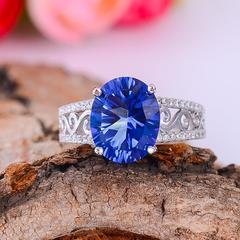 Hand jewelry 925 silver - studded topaz stone ring. Rhodium plating adjustable