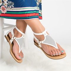 New Roman Toe-clip Ladies Sandals in 2019 Women's Shoes Hollow flat-soled sandals Back zipper white 35