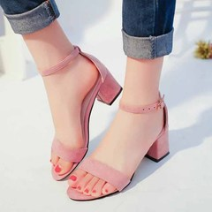 Women's Shoes Fashion sandals New kitten heels Women's shoes are suede with peep-toe heels Sandals pink 34