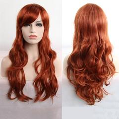 Christmas gift color wig synthetic braid hair 80cm long curly hair cosplay hair set dark brown 80