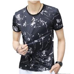 Men's Summer Ice silk Short-sleeved T-shirt Men's Thin Men's Half-sleeved Leisure Men's Clothes Black M 95% Ice filament + 5% Spandex