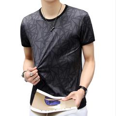 Clothes Summer Ice silk Short-sleeved T-shirt Men's Thin Men's Half-sleeved Leisure Men's Clothes Black XL 95% Ice filament + 5% Spandex