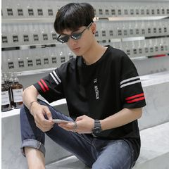 Summer Short-sleeved T-shirts, Men's Shirts Polos Five-and-a-half Sleeves Clothes Black M 65% Polyester fiber + 35% Cotton