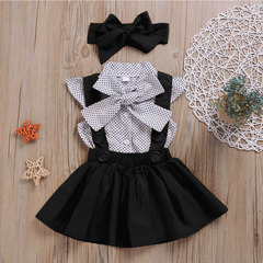 3-Piece baby Girls Dots Tops Tutu Dress Skirt Bow Headband Clothes Outfits Set black 90