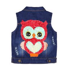 Kids Clothes Girl jackets Autumn Coat Cartoon Children Clothing Vest Outerwear Winter Owl Denim blue 120