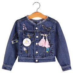 Baby Girls Jackets Coats Cartoon Graffiti Embroidery Kids Denim Jacket Autumn Winter Outerwear blue 120