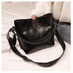 Rhombus Pattern Lady's Single Shoulder Bag black one size
