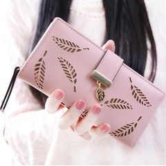 Women Wallet PU Leather Purse Female Long Wallet Gold Hollow Leaves Pouch Handbag  Coin Purse pink Length 7.48