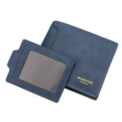 Men's wallet short style leisure large capacity multi card position draw card short men's wallet blue one size
