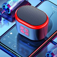 Mini Wireless Bluetooth speaker portable radio subwoofer outdoor black&red one size