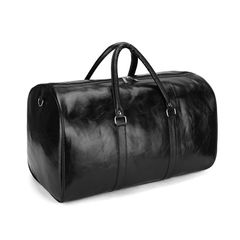 Large Capacity PU Lether Duffle & Gym Bags High Quality Solid Color Partition Finishing black one size