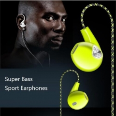 super bass sound stereo Headset ear hook sport earphone for Infinix /Cubot Green