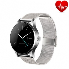 Smart Watch K88H IPS Round Screen Support Heart Rate Monitor Bluetooth smartWatch For IOS Android silver Meteal