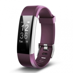 Smart Bracelet Heart Rate Monitor Fitness Tracker Step Counter Activity Band Alarm Clock PK FITBITS purple one size