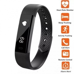 ID115 PRO Fitness Tracker Smart Watch Wristband for Android IOS Phone black one size