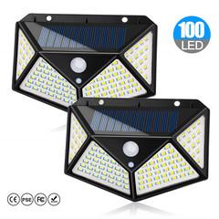 sunRiseAtSea 100 LED Solar Power PIR Motion Sensor Wall Light Outdoor Garden Lamp Waterproof 100LED Tri Mode 1200Mah 2 pack 7w