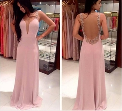 Women long Dress Sexy Deep V Neck Casual Party Dress Backless Sleeveless Dresses Vacation Wear S Pink
