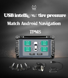 Wireless Tire Pressure Monitoring System Built-in USB Adapter compatible with Android Car Player External Sensor