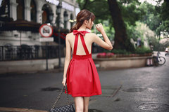 Summer Korean Style Neck Bow Cross Hollow Back Slim Dress,Evening Dress,Patchwork Dress,Full Skirt Red S