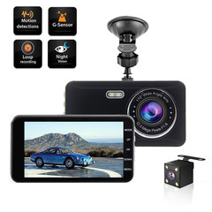 4 Inch Screen Dual Lens HD 1080P Dash Cam Front&Rear Built-in GPS 170° Wide Angle DVR with G-sensor as picture