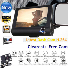 4 Inch Screen Car Driving Recorder,3 Lens HD 1080P Dash Cam 170 Wide Angle DVR with G-sensor black