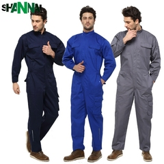 Long Sleeve conjoined Uniform Suit Labor Protection Clothing Automobile Repair Clothes for men Blue S