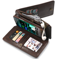iPhoneXS MAX Multifunction Mobile Phone Case Apple XR7/8 Wallet Note Case Samsung S9/8 Plus samsung s9 brown