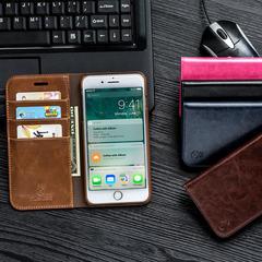 iPhone6s Mobile Shell Apple 7/8 Plus Flip Case Leather Magnetic Samsung S6+ edge plus Accessories dark blue iphone 7/8
