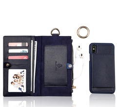 iPhoneXS Max Wallet Holster XR Mobile Shell Zipper Multifunction Samsung 8/7/6 plus edge Cover dark blue iphone 7/8