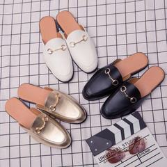 Men Designer Brand G Pricetown Slippers Buffed Leather Sandals Couple Shoes Almond Toe BLACK 41