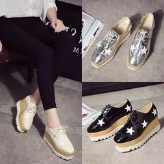 Women 2019 Luxury Brand Platform Wedges Oxfords Classic Casual Lace Up Mid Heels Wingtips Square Toe Black 36