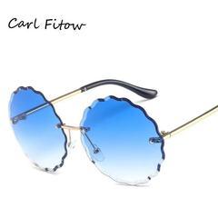 Women/Teen Luxury Designer Vintage Sunglasses Rimless Glasses Multicolor Eyewear 100% UVA/UVB blue one model