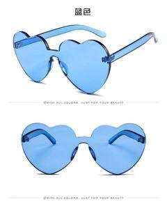 Women Girl New Fashion Heart Shaped Rimless Sunglasses Candy Steampunk Lens UV400 blue one model